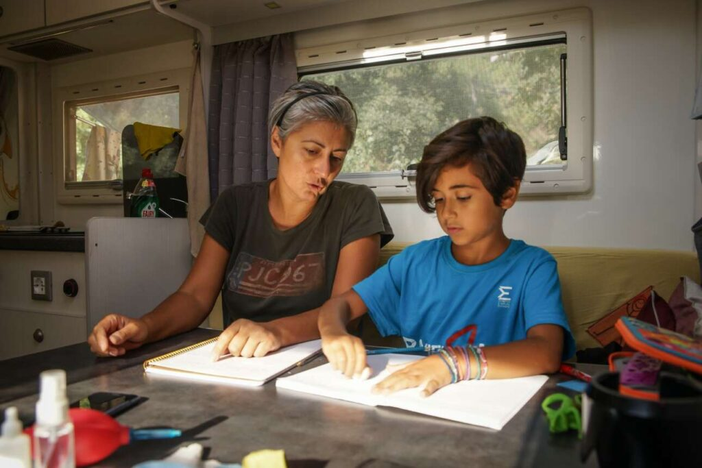 MOTHER AND DAUGHTER STUDING